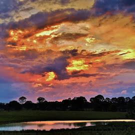 Skyblaze by Simon Tidd - Landscapes Sunsets & Sunrises ( clouds, qld, sky, sunset, evening, sun )