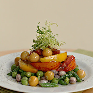 Green Bean and Fresh Chickpea Salad with Heirloom Tomatoes and Mint