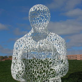 Sculpture Park by Linda McCormick - Artistic Objects Other Objects ( white man sculpture, sculpture, wire, sculpture park, des moines )