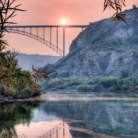 Smoky Sunrise by Rick Otto - Landscapes Sunsets & Sunrises ( snake river, bridge, sunrise )