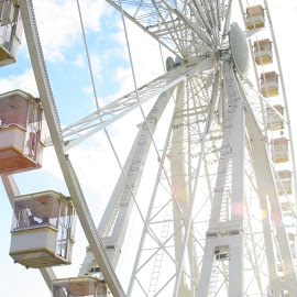 Ferris wheel by Vita Pundure - City,  Street & Park  Amusement Parks ( ferris, structure, wheel, park, joy, attractions, white, happiness, travel, sun, entertainment, city, paris, rotating, sky, amusement, beams, construction, light, panoramic,  )