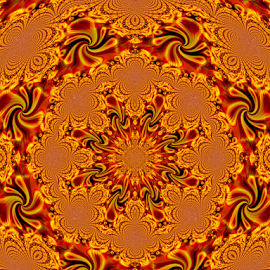 BRIK 1 by Tina Dare - Illustration Abstract & Patterns ( abstract, kaleidoscope, patterns, designs, distorted, oranges, golds, spokes, shapes )