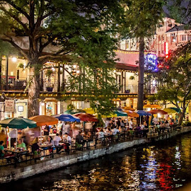 Dinner With A View by Simon OnVacation - City,  Street & Park  Markets & Shops ( night photography, texas, houston, riverwalk, tourism )