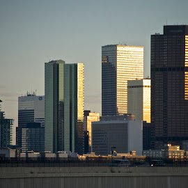 Downtown Denver at Sundown by Hugh Hazelrigg - City,  Street & Park  Skylines ( skyline, building, skyscrapers, colorado, denver, pixoto, architecture, cityscape, downtown )