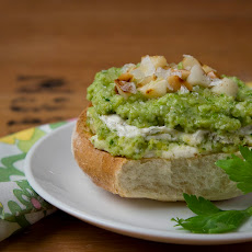 Roasted Macadamia-Celery Pesto and Peppered Cream Cheese Tartine