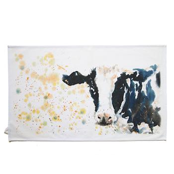 Cow tea towel British shabby chic art