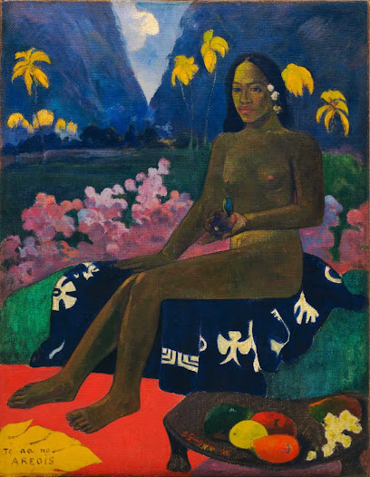 "From MoMA.org: In spring 1891 Gauguin traveled to the South Pacific island of Tahiti, then a French colony. He hoped to find an enchanting paradise, far from the modern metropolis of Paris. However, by the time of Gauguin's arrival Tahiti had been profoundly altered by French colonization: poverty and sickness were rampant. Still, in his paintings of the island Gauguin included elements of the imaginary, configuring Tahiti as a pre-modern land of leisure. His use of bright, flat, and unrealistic colors and his interest in recovering a ""pure"" subject, closer to nature, were greatly influential to the next generation of European artists, including the Fauves and German Expressionists."