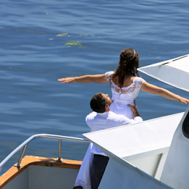 WEDDING DAY by Bill Waterman - Wedding Bride & Groom ( water, waterscape, wedding, bayfront, boat, women, man,  )