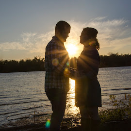 sweethearts by Jody Jedlicka - People Couples ( love, starburst, silhouette, sunset, couples )