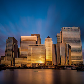 Dockland by Brian Knott - Buildings & Architecture Office Buildings & Hotels ( calm, london docklands, warm, dawn, offices, buildings, yellow, sunrise, morning, wharf canary )