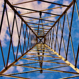 Power Line Tower by Brian Mckinney - Abstract Patterns ( tower, power lines, lines, geometric, shapes,  )