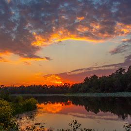Sunset at Adams Lake by Jeff Lebovitz - Landscapes Sunsets & Sunrises ( clouds, red, colorful, sunset, lake )