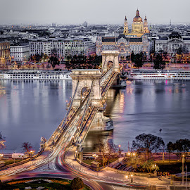The Bridge and the Cathedral by Matthew Haines - Buildings & Architecture Bridges & Suspended Structures ( budapest, catholic, cathedral, night, bridge, river )