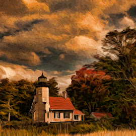 Waiting for Fall on the Hill by Claire Lenahan - City,  Street & Park  Historic Districts ( fall, lighthouse, oil )