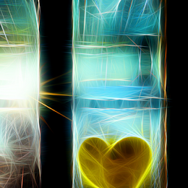 Neon Window by Denny Gruner - Digital Art Abstract ( icon, reflection, heart, colorful, shine, windows, glow, sunlight, color, graffiti, neon, glass, design )