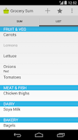 Screenshot of Grocery Sum Shopping List