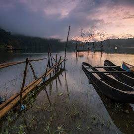 Boats on the lake Tamblingan by Wayan Sujana - Transportation Boats ( canon, bali, boats, lake, transportation, landscape, tamblingan, exploration )