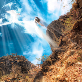 Unleashing Peace by Sambit Nandi - Digital Art People ( mountain, hdr, art, white, photo, digital, manipulation, angel, sky, blue, pegion, peace, power, surreal, exchange )
