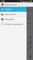 Screenshot of Árfolyamok Plus
