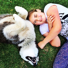 Mans best friend! by Shelly Chadburn-Barron - Animals - Dogs Playing ( huskies )