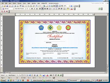 Template Desain Piagam Sertifikat versi MSWord