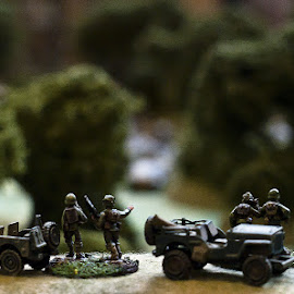 discusin stratagy by Sandy Crowe - Artistic Objects Toys ( army, ww2, soldier, toy, jeep, american )
