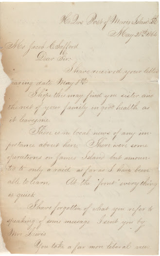 "In this 1864 letter, Sergeant Francis Fletcher of the 54th Massachusetts discusses pay inequality:  <i>Just one year ago to day our regt was received in Boston with almost an ovation, and at 5 P. M. it will be one year since we were safely on board transport clear of Battery Wharf and bound to this Department: in that one year no man of our regiment has received a cent of monthly pay all through the glaring perfidy of the U.S. Gov't.</i>  Learn more about Fletcher's letter <a href=""http://www.gilderlehrman.org/history-by-era/african-americans-and-emancipation/resources/sergeant-francis-fletcher-54th-massachus"">here</a>."