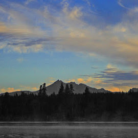 Little Lava Lake Selective Coloring by Waynette  Townsend - Landscapes Sunsets & Sunrises ( clouds, oregon, mountains, sky, dawn, fog, color, art, cascades, lake, morning, mist,  )