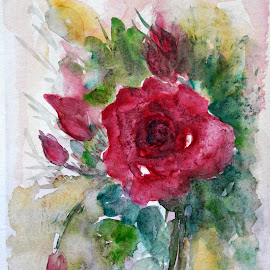 For me by Artica Arta - Painting All Painting ( watercolor, rose, colorism, transparent )