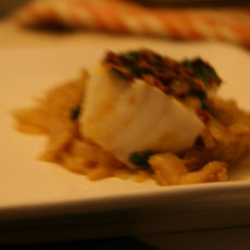 Halibut With Preserved Lemon Chutney Over Melted Fennel And Leeks