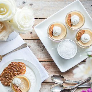 Salted Butterscotch Pots de Crème with Hazelnut-Espresso Lace Cookies