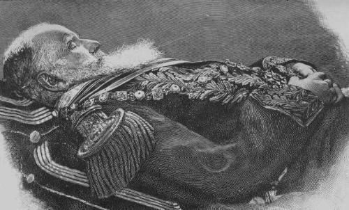 Funerales de la Realeza - Página 2 Pedro%20II%20no%20leito%20de%20morte%20vestido%20de%20farda%20e%20condecorado%2C%20nas%20m%C3%A3os%20o%20crucifixo%20que%20ganhou%20do%20Papa%20-%2020.12.1891