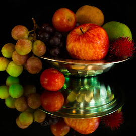 basket by Francy John - Food & Drink Fruits & Vegetables ( reflection, grapes, apple, fruits, plum )