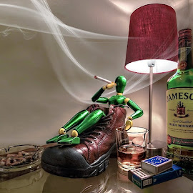 Bad Mannequin! by Darrell Burnett - Artistic Objects Other Objects ( cigarettes, ashtray, boot, hdr, whiskey, bottle, mannequin, photoshop )