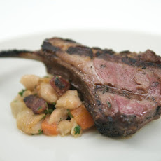 Lamb Chops with Thyme Honey and White Beans