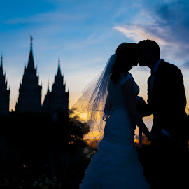 sillouetted bride and groom by Holly Johnson - Wedding Bride & Groom ( sunset, formals, sillouette, bride and groom, salt lake temple )