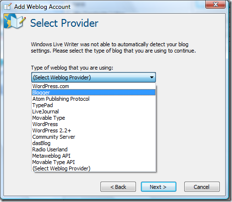 Blog providers recognized by Windows Live Writer