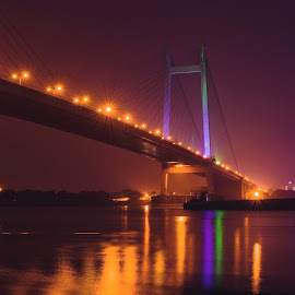 A night in Kolkata :) by Debayan Messi - Buildings & Architecture Bridges & Suspended Structures ( kolkata )