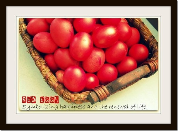 Red eggs to celebrate Anson's first month