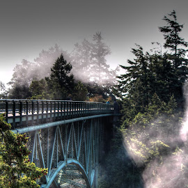 Deception  by Jeanne Geroux - Buildings & Architecture Bridges & Suspended Structures ( structure, architecture, bridge, landscape, misty morning,  )