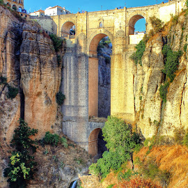 The Puente Nova in Ronda by Bruno Perez - Buildings & Architecture Bridges & Suspended Structures ( puente nova, old town, canyon, historical, bridge, spain, ronda,  )