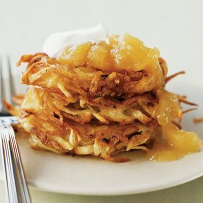 Potato Pancakes with Sour Cream and Applesauce