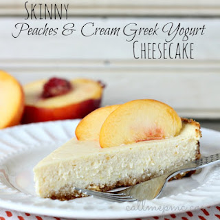 Skinny Peaches & Cream Greek Yogurt Cheesecake