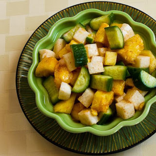 Cucumber, Jicama, and Pineapple Salad with Spicy Sriracha Dressing