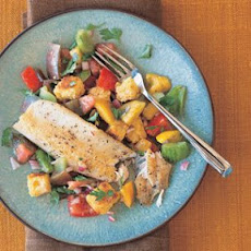Panfried Trout with Warm Corn Bread Salad