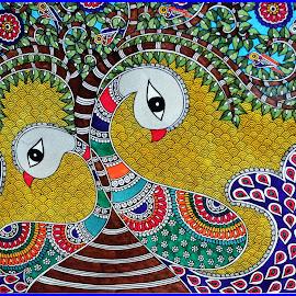 Peacock Pair by Prasanta Das - Painting All Painting ( style, peacock pair, madhubani )