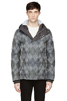 Moncler Gamme Bleu Grey And Blue Quilted Down Argyle Jacket