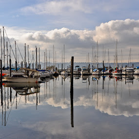 Tacoma  Boat Harbor by Loren Masseth - Landscapes Waterscapes ( washington, puget sound, boats, yacht, reflections, tacoma, marina, moorage )