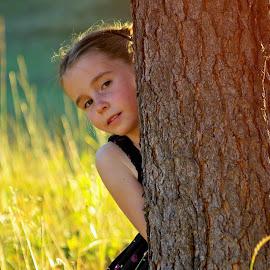 Innocent by Giselle Pierce - Babies & Children Child Portraits ( child, little girl, girl, tree, grass, kid )