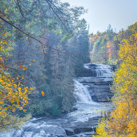 Triple Falls Dressed for Fall by Marc Novell - Landscapes Waterscapes ( transylvania county, fall, dupont forest, north carolina )